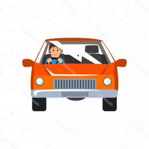 Car Vector Front View: Stock Illustration Man Driving Red Car Front