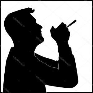 Vector Silhouette Man Smoking Marijuana: Man Wearing Red Sombrero Smoking Marijuana