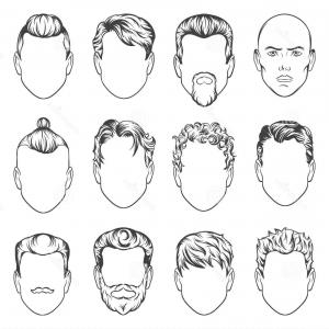 Short Men's Hair Vector: Avatar Mens Portraits Vector Isolated Characters