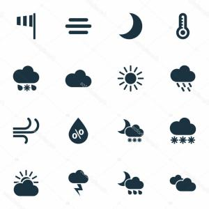 Vector Signs From Moisture: Air Icons Set Collection Moisture Temperature