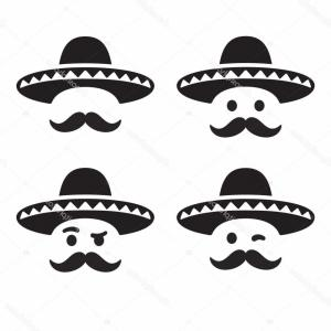 Sombrero Hat Vector: Stock Illustration Mexican Sombrero Hat With Face