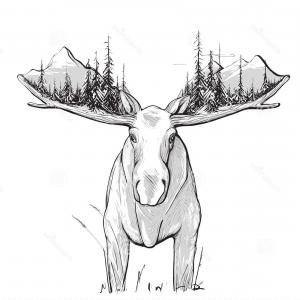 Alaska Moose Vectors: Alaska Icons Set Filled Such