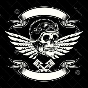 Harley -Davidson Skull Logo Vector: Stock Illustration Vintage Motorcycle Club Logo Graphic Design Man T Shirt New Collection Image