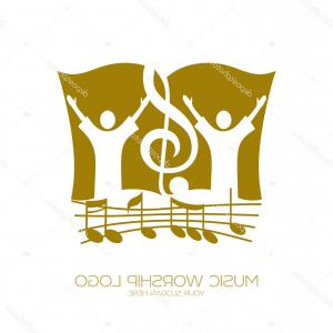 Gospel Music Background Vector: Colorful Christian Cross With Stave And Music Notes Isolated Vector Illustration