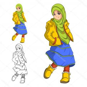 Yellow Jacket Vector Art: Stock Illustration Muslim Girl Fashion Wearing Green
