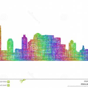 Detroit Skyline Vector Art EPS: Stock Illustration Nashville Skyline Silhouette Multicolor Line Art City Image