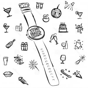 Vector New Year's Eve: Stock Illustration New Years Eve Doodles Watch Vector Outline Sketches Image