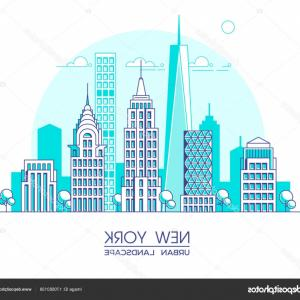 Famous Skyscraper Vectors: Stock Photo Outline Moscow City Skyscrapers And Famous Buildings In Blue Color