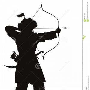 Vector Archery Silhouette: Stock Illustration Oriental Archer Warriors Theme Bow Arrow Detailed Vector Silhouette Eps Image