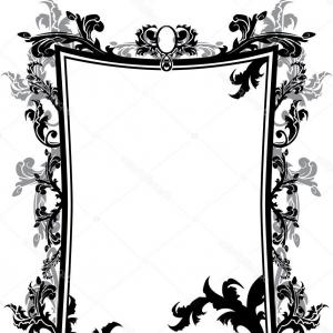 Vector Ornate Vintage Frame Blank: Square Vintage Frame With Ornate Border Covered With Vignette Vector Clipart