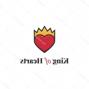 Crowns Vector Logos Red: Stock Illustration Outline Heart With Crown Vector