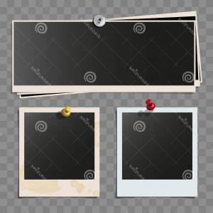 Wide Polaroid Camera Vector: Stock Illustration Photo Polaroid Frames Wall Attached Pins Retro Wide Dirty Vector Set Isolated White Background Wide Pile Image