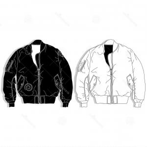 Vector Bomber Jacket: Stock Illustration Pilot Jacket Bomber Illustration Pilot Jacket Bomber Fashion Illustration Illustration Set White Background Image