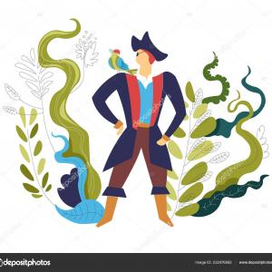 Duck Commander Logo Vector: Stock Illustration Pirate Wearing Commander Hat Costume