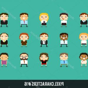 8-Bit Vector People: Stock Illustration Pixel Art Office Characters