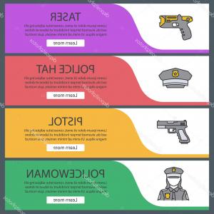 Vector Gun Concepts: Stock Illustration Police Web Banner Templates Set