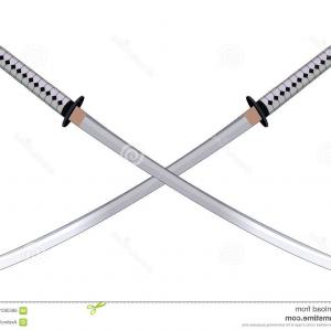 Samuri Sword Vector: Outline Samurai Sword Warrior Weapon Icon Vector