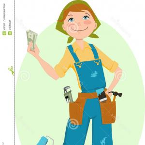 Woman Vector Toon Painter: Stock Illustration Save Money Renovation Smiling Cartoon Woman Overalls Holding Home Tools Her Pockets Can Paint Painter S Image