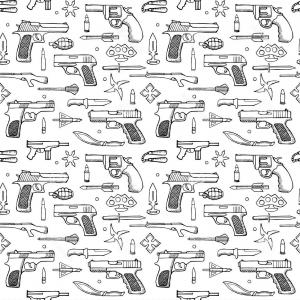 Guns Vector Pattern: Stock Illustration Seamless Hand Drawn Doodle Pattern Guns Vector Illustration Backgrounds Textile Prints Web Graphic Design Image