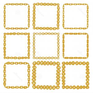 Square Gold Frame Vector PNG: Decorative Frame Border Design Birthday Greeting