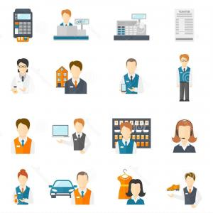 Salesman Vector: Stock Illustration Set Icons Salesman Flat Business Figures Isolated Vector Illustration Image