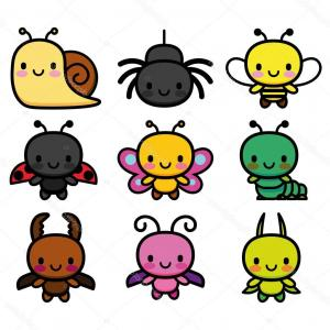 Kawaii Bug Vector: Kawaii Bug Sign Icon Virus Symbol Software Bug Vector