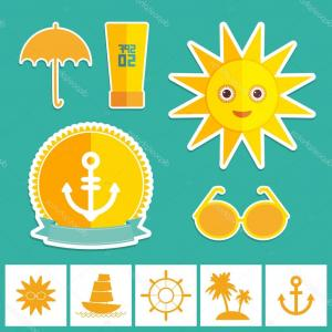 Vector Yellow And Orange Beach: Stock Illustration Set Of Summer Vacation Beach