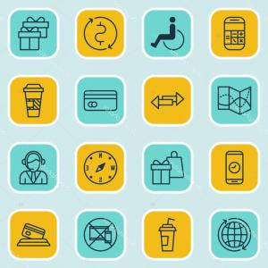 Direction Of Vector Calculator: Stock Illustration Set Of Traveling Icons On