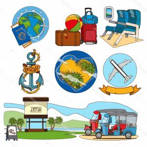 Massport Vector: Airport Travel Icons Flat Tourism Suitcase