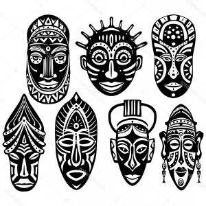Tribal Football Vector Art: Aloha Hawaii Tribal Mask Leaves Background Vector Image Gm