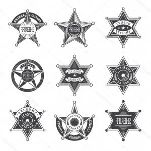 Western Star Vector Graphics: Photogold Star Sheriff Badge From The Old West Vector