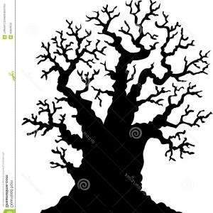 Oak Tree Silhouette Vector Graphics: Stock Illustration Silhouette Leafless Oak Tree Cartoon Illustration Image