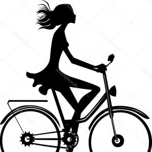 Beautiful Bicycle Vector: Stock Illustration Silhouette Of A Girl On