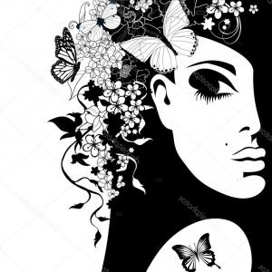 Butterfly On Flower Silhouette Vector: Stock Illustration Silhouette Of A Woman With