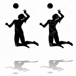 Female Volleyball Silhouette Vector: Stock Illustration Silhouette Woman Playing Volleyball Illustration Beach Black White Drawing White Background Image