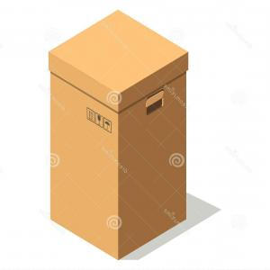 Vector Signs From Moisture: Stock Illustration Simple Brown Cardboard Box Small Signs Holder Rectangular Fragile Top Product Keep Away Moisture Cover Handles Image