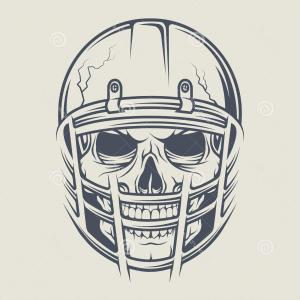 Distressed Football Helmet Vector: Football Skull Helmet Isolated On White
