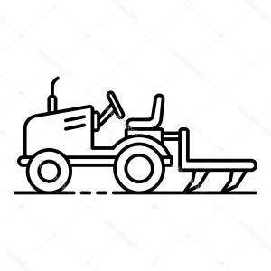 Tractor Outline Vector Art: Stock Illustration Small Tractor Plow Icon Outline