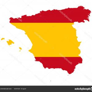 Spain Outline Vector: Stock Illustration Spain Flag In Silhouette Of