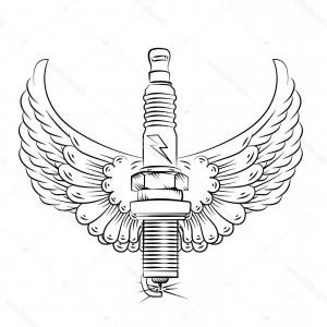 Spark Plug Vector: Vector Logo Of Crossed Spark Plugs By Vector Tradition Sm