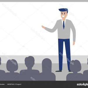 Speaker Vector Man: Stock Illustration Speaker Man Talk Audience Conference