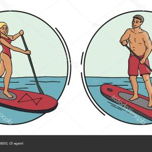 Paddleboard Vector Icons: Stylized Icon Gray Stand Paddle Board