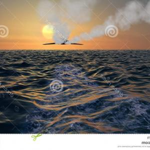 Vector Robot Jet Bomber: Stock Illustration Stealth Bomber Jet Fly Over Sunset Fighter Jets Flying Ocean Dual Vapor Trails Image