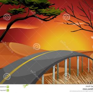 Sunset Road Background Vector: Forest Road Sunset Vector Background