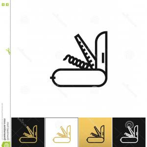 Vector Army Knife: Army Knife Outline Icon Vector