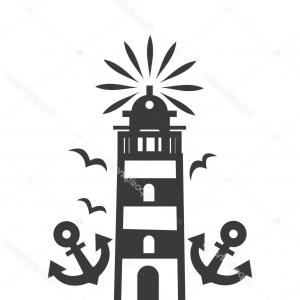 Lighthouse Beacon Silhouette Vector: Stock Illustration Tall Beacon Bright Light Top