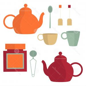 Tea Set Vector: Stock Illustration Tea Set Vector Illustration Cups Teapots Spoons Image