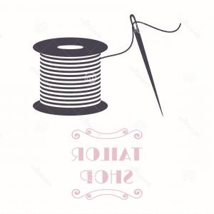 Sewing Spool Vector: Stock Illustration Thread Spool Needle Icon Tailor Shop Needlework Symbol Image