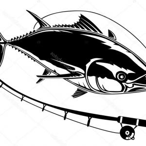 Tuna Fish Vector Art: Stock Illustration Tuna Fish Rod White