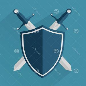 Cavalier Sword Vector: Stock Illustration Two Swords Shield Eps Vector Image